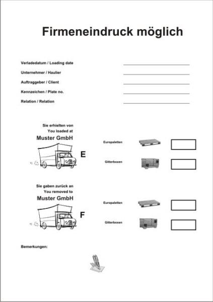 5er Pack Palettenscheine Lademittelnachweis